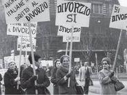 Donne con cartelli sul divorzio